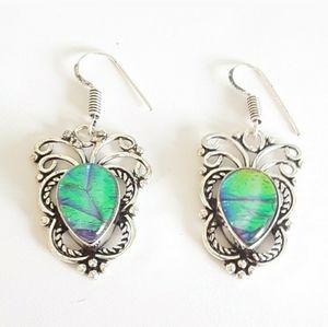 Sterling silver blue green opal butterfly earrings